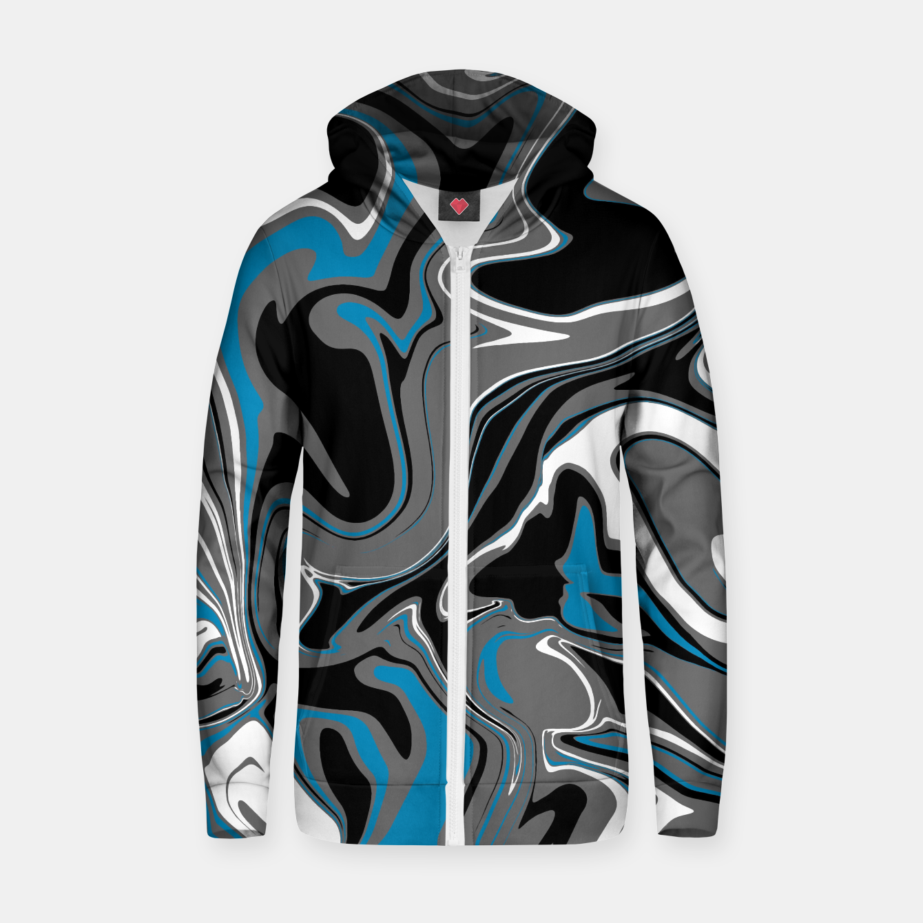 Image de Blue Grey and White Marble Melt Unisex Hoodie - Live Heroes