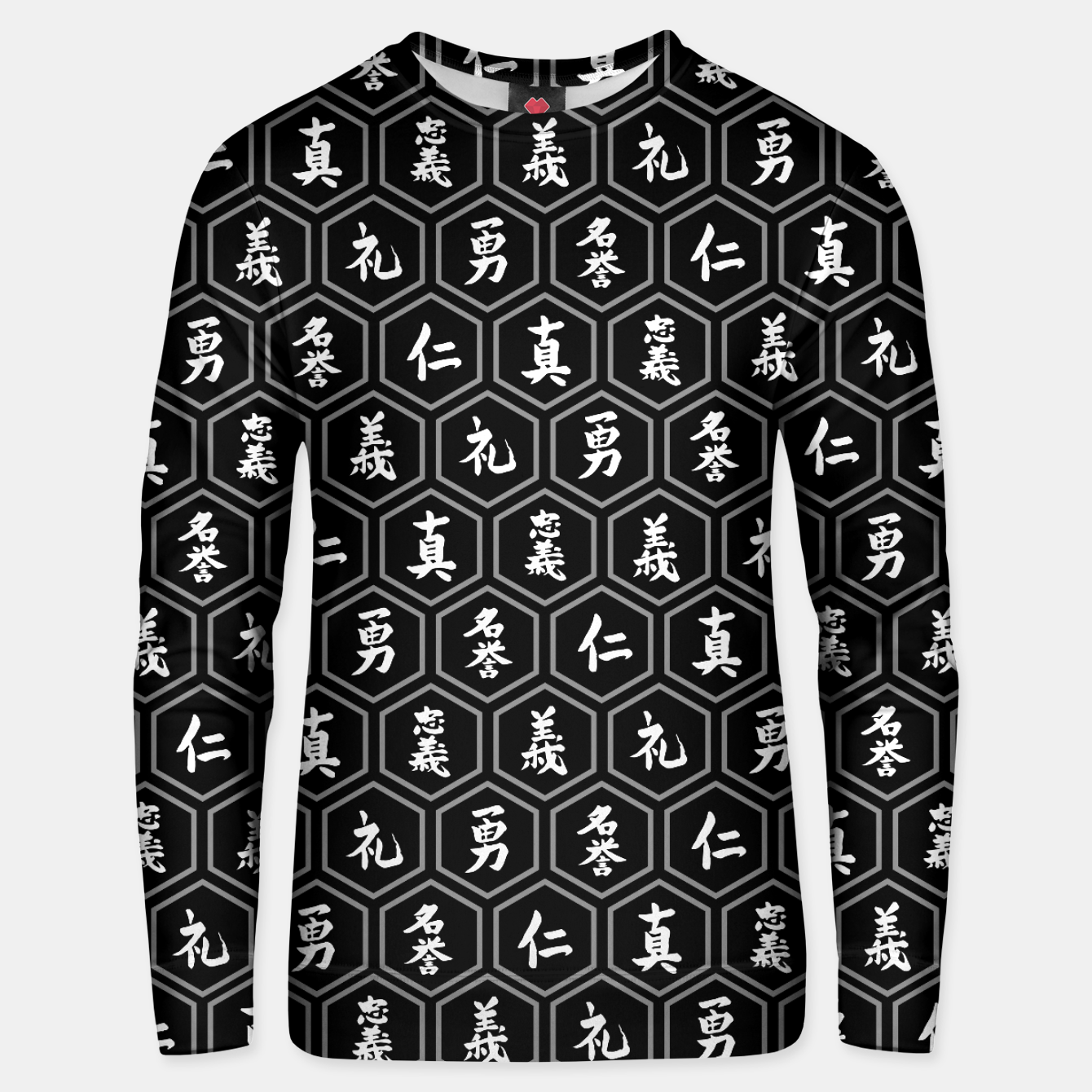 Image of Bushido Seven Virtues Japanese Samurai Kanji Pattern Hex BLACK Unisex sweater - Live Heroes