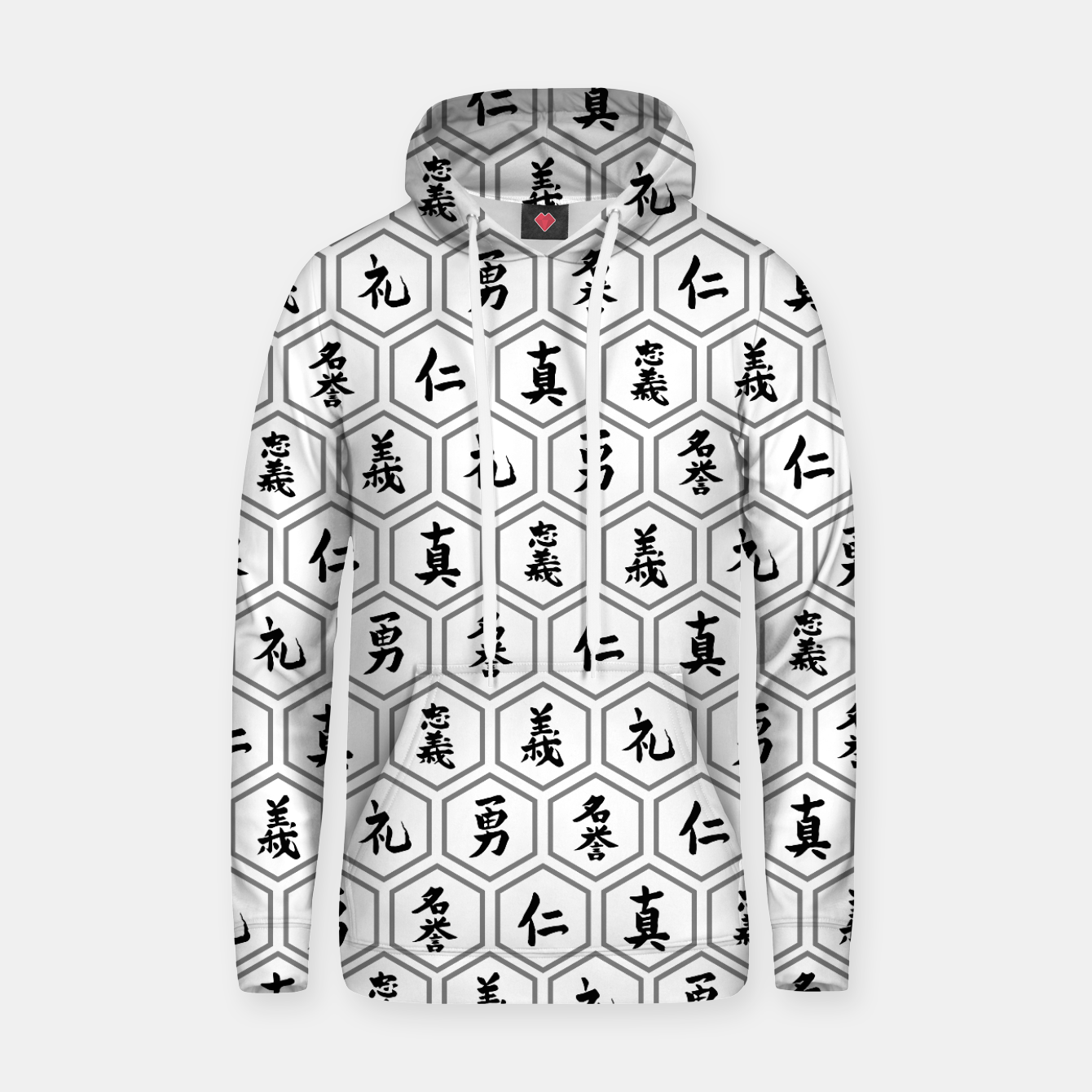 Image of Bushido Seven Virtues Japanese Samurai Kanji Pattern Hex WHITE Hoodie - Live Heroes
