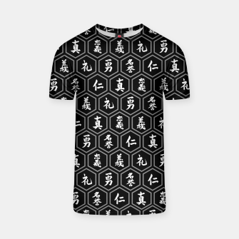 Thumbnail image of Bushido Seven Virtues Japanese Samurai Kanji Pattern Hex BLACK T-shirt, Live Heroes