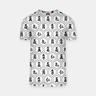 Thumbnail image of Bushido Seven Virtues Japanese Samurai Kanji Pattern Hex WHITE T-shirt, Live Heroes