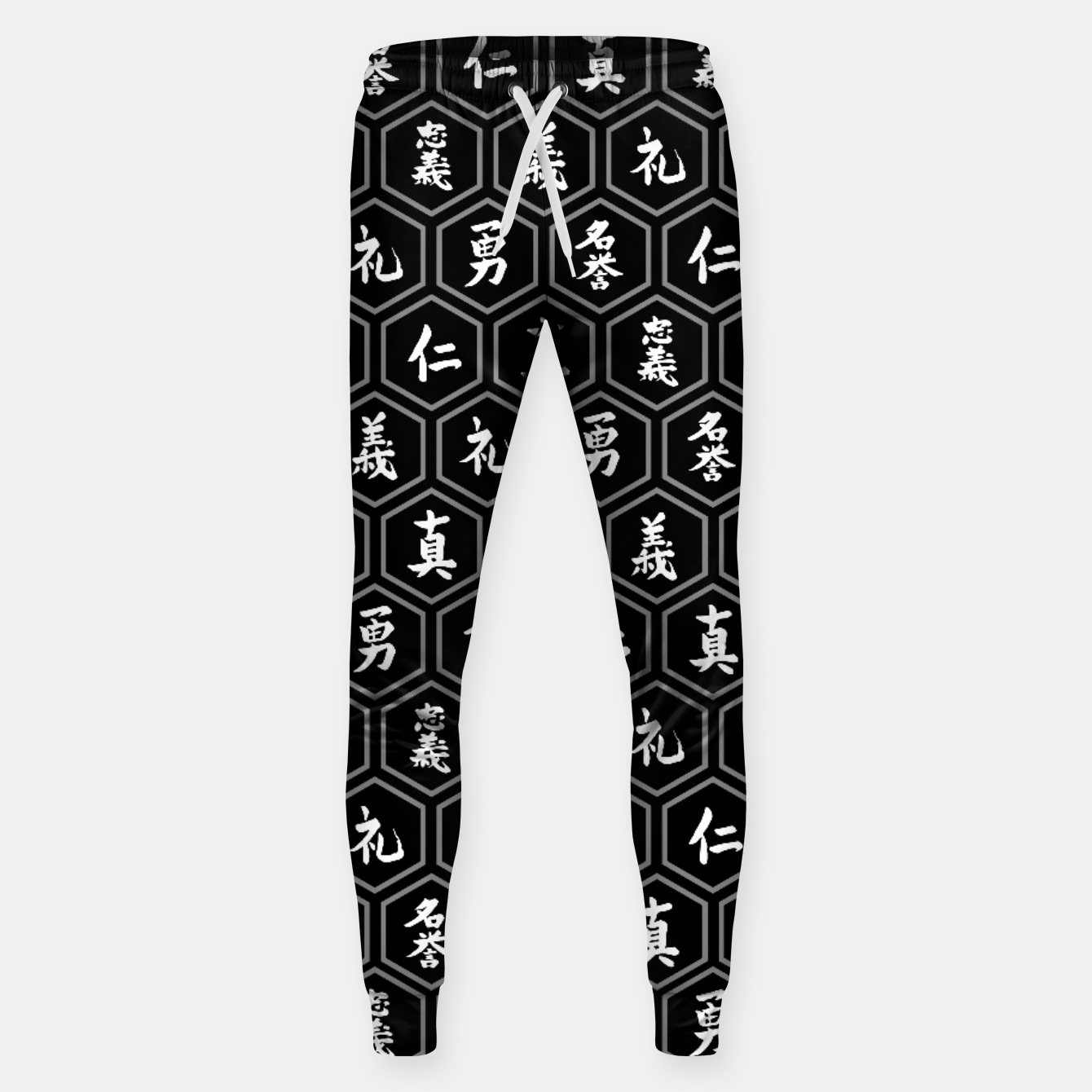 Image of Bushido Seven Virtues Japanese Samurai Kanji Pattern Hex BLACK Sweatpants - Live Heroes