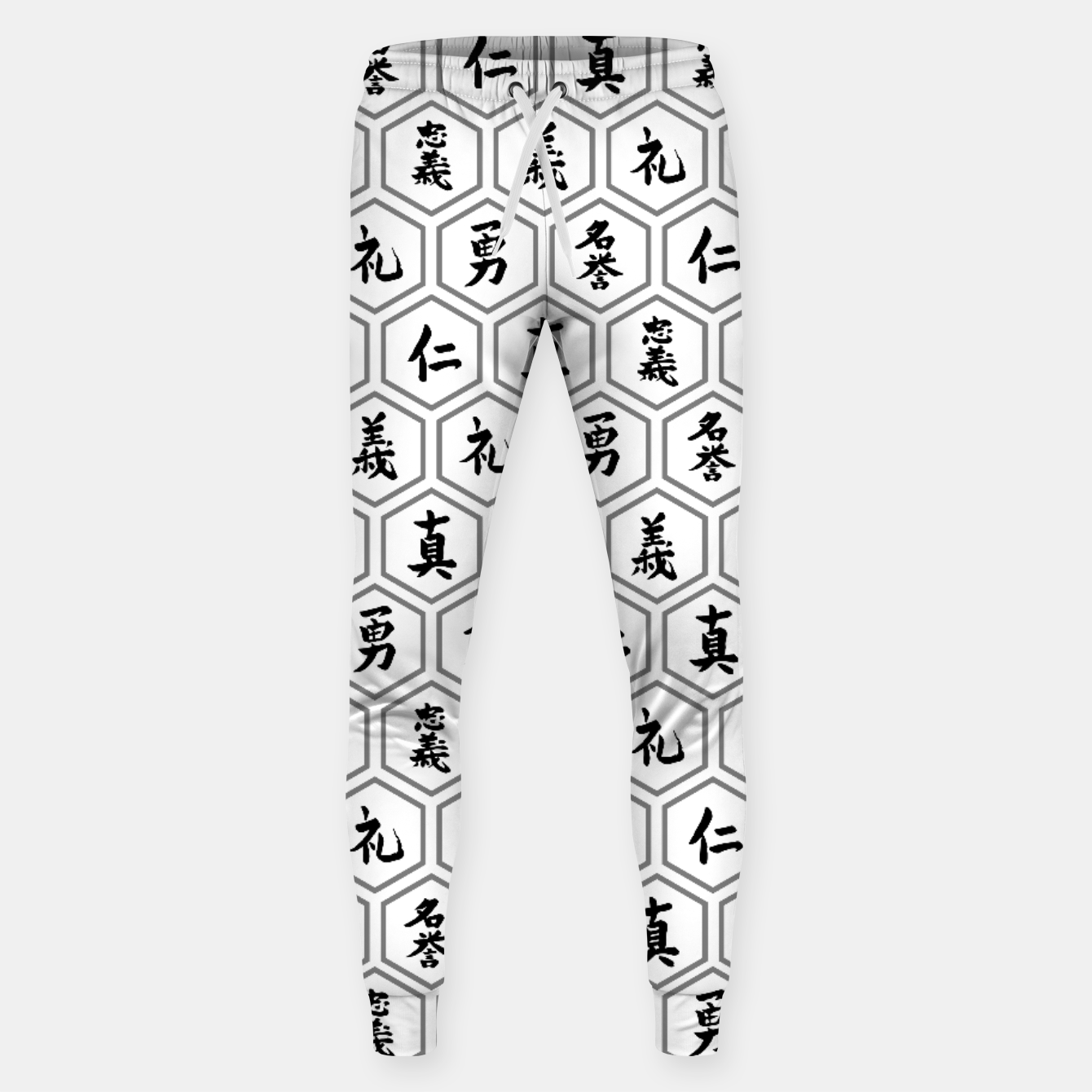 Image of Bushido Seven Virtues Japanese Samurai Kanji Pattern Hex WHITE Sweatpants - Live Heroes