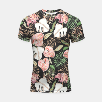 Thumbnail image of Wild bloom jungle dark Shortsleeve rashguard, Live Heroes