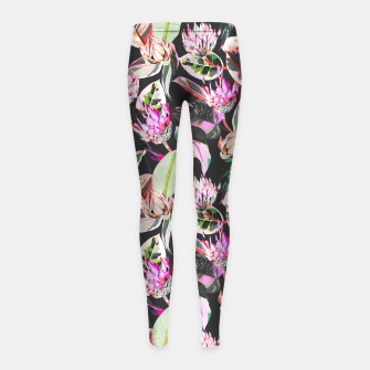 Thumbnail image of Dark colorful bohemian bloom Leggings para niña, Live Heroes