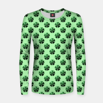 Thumbnail image of Dark Green glitter sparkles Shamrock Clover pattern Women sweater, Live Heroes
