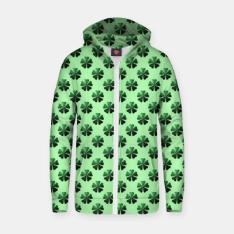 Thumbnail image of Dark Green glitter sparkles Shamrock Clover pattern Zip up hoodie, Live Heroes