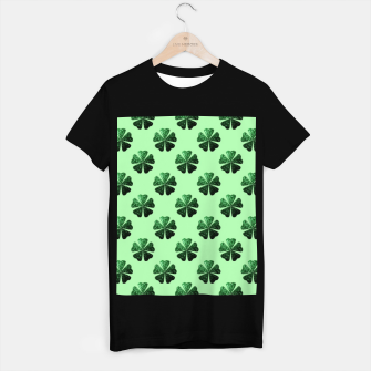 Thumbnail image of Dark Green glitter sparkles Shamrock Clover pattern T-shirt regular, Live Heroes