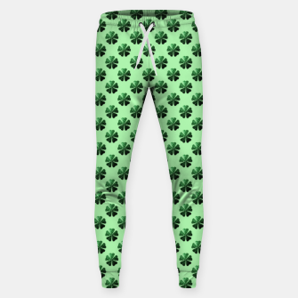 Thumbnail image of Dark Green glitter sparkles Shamrock Clover pattern Sweatpants, Live Heroes