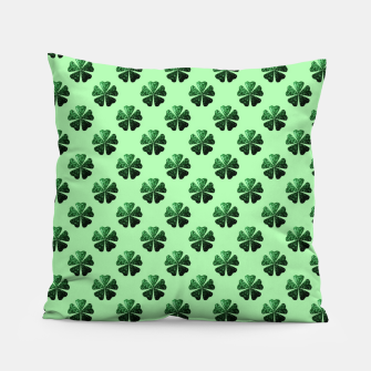 Thumbnail image of Dark Green glitter sparkles Shamrock Clover pattern Pillow, Live Heroes