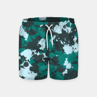 Miniaturka Emerald Teal Paint Splatter Swim Shorts, Live Heroes