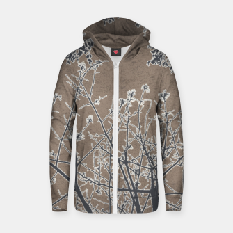 Thumbnail image of Linear Textured Botanical Motif Design Zip up hoodie, Live Heroes