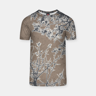 Thumbnail image of Linear Textured Botanical Motif Design T-shirt, Live Heroes