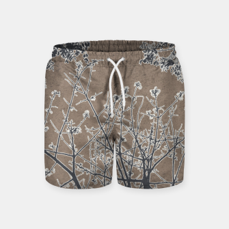 Thumbnail image of Linear Textured Botanical Motif Design Swim Shorts, Live Heroes