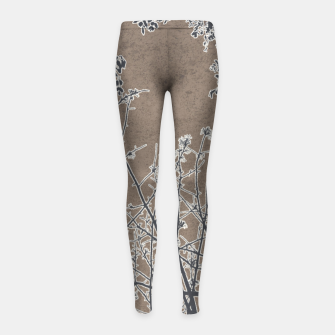 Thumbnail image of Linear Textured Botanical Motif Design Girl's leggings, Live Heroes