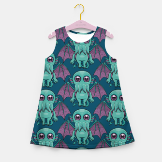 Miniatur Cute Baby Cthulhu Monster Pattern Girl's summer dress, Live Heroes