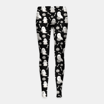 HALLOWEEN GHOST PARTY B&W Girl's leggings Bild der Miniatur