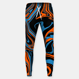 Thumbnail image of Blue Orange and Black Abstract Marble Jogger Sweatpants, Live Heroes