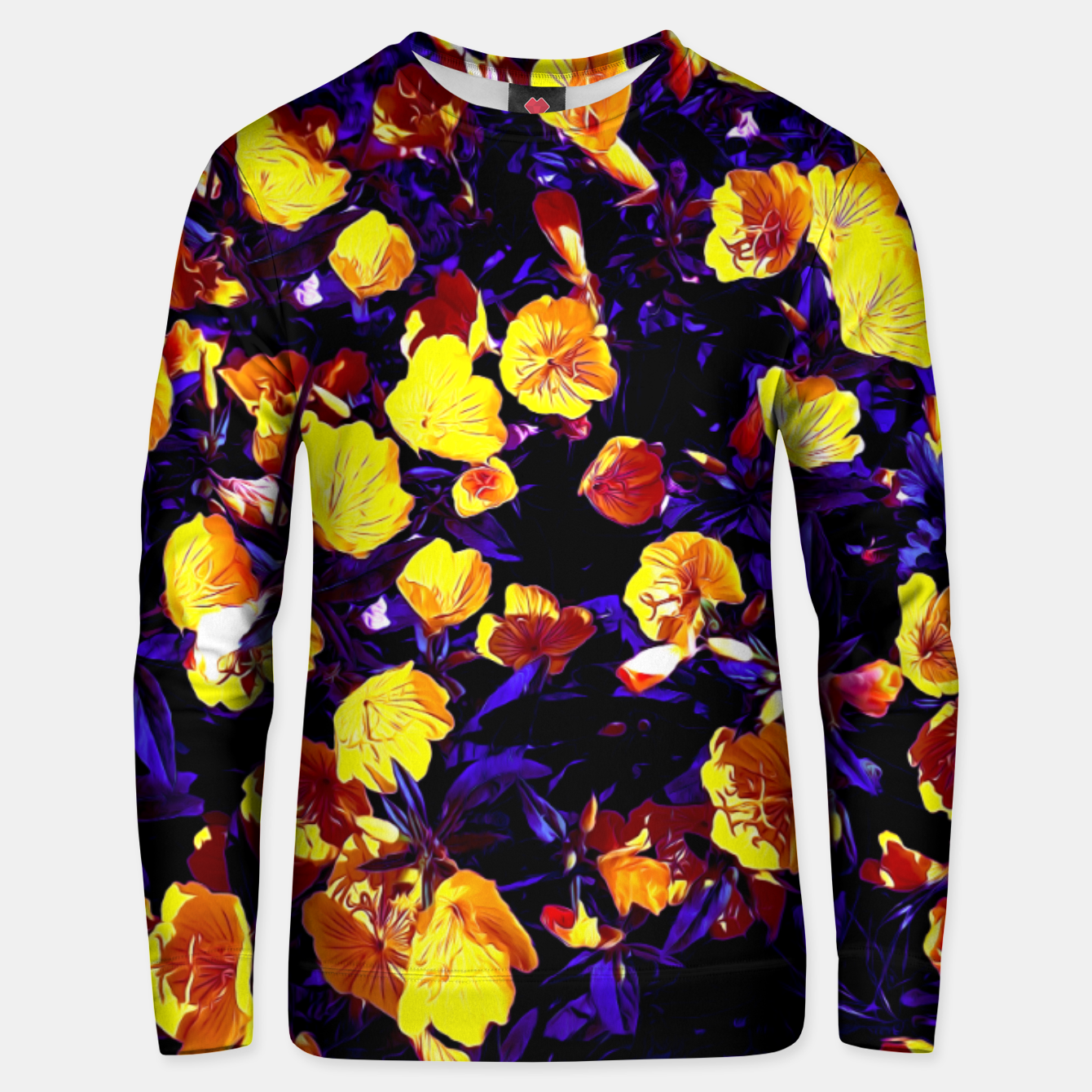 Image of Moonlight flowers, botanical print of spring floral garden lit by the moon Unisex sweater - Live Heroes