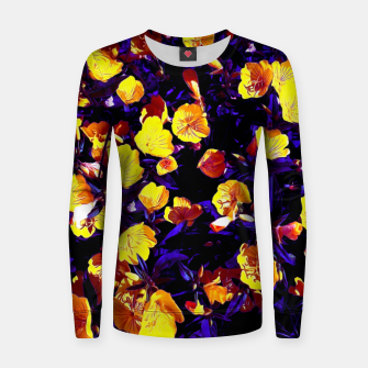 Thumbnail image of Moonlight flowers, botanical print of spring floral garden lit by the moon Women sweater, Live Heroes