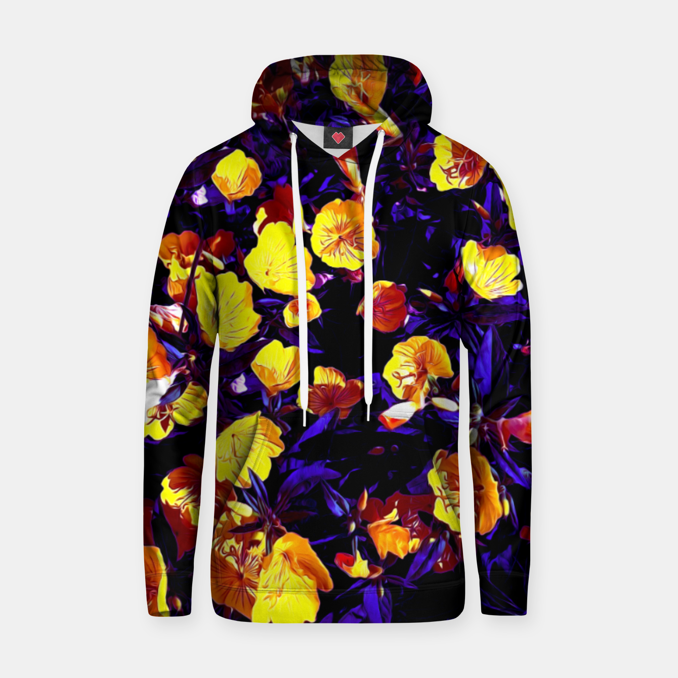 Image of Moonlight flowers, botanical print of spring floral garden lit by the moon Hoodie - Live Heroes