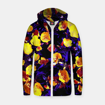 Thumbnail image of Moonlight flowers, botanical print of spring floral garden lit by the moon Zip up hoodie, Live Heroes