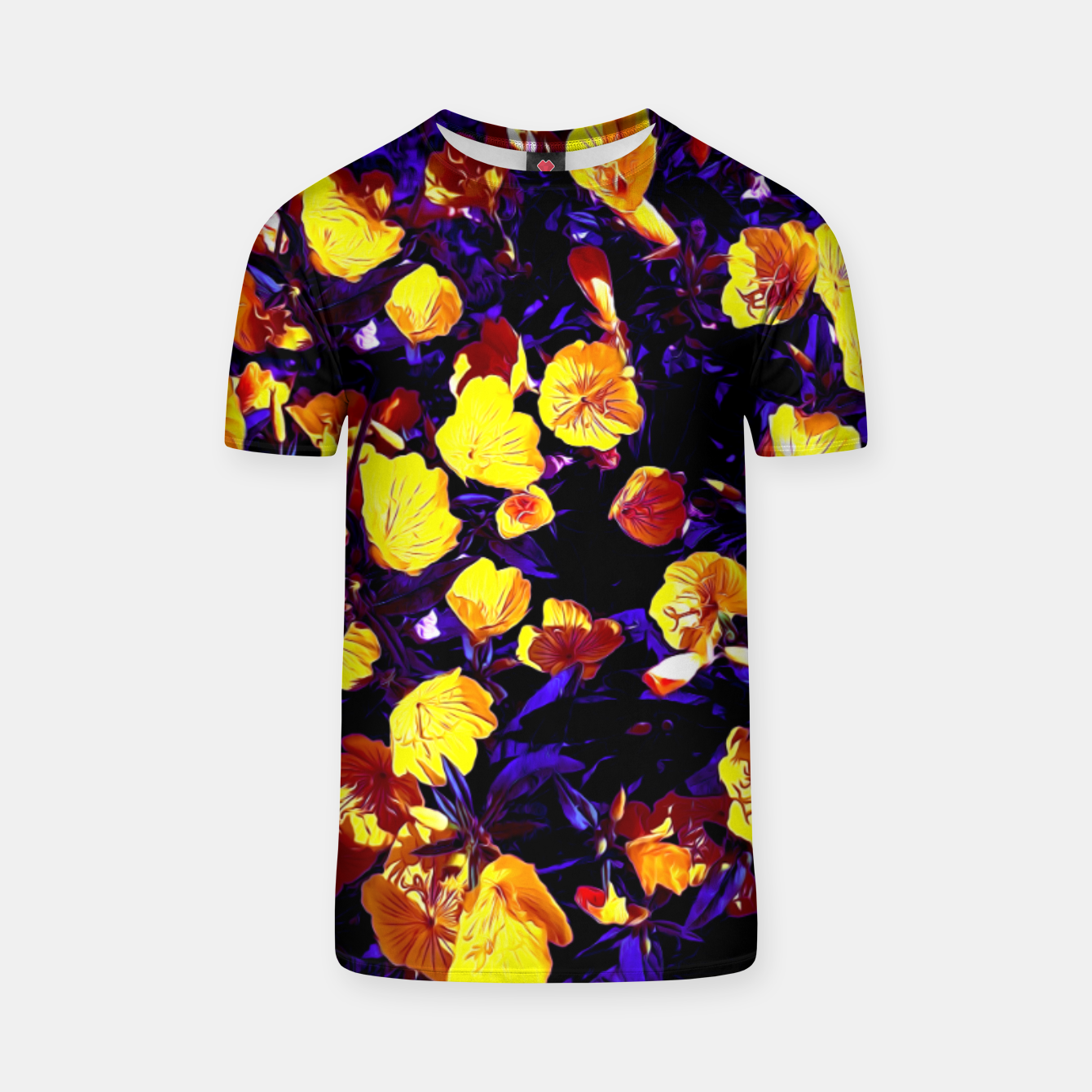 Image of Moonlight flowers, botanical print of spring floral garden lit by the moon T-shirt - Live Heroes