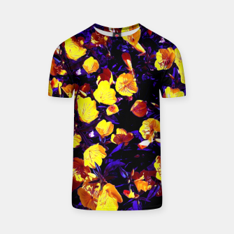 Miniatur Moonlight flowers, botanical print of spring floral garden lit by the moon T-shirt, Live Heroes