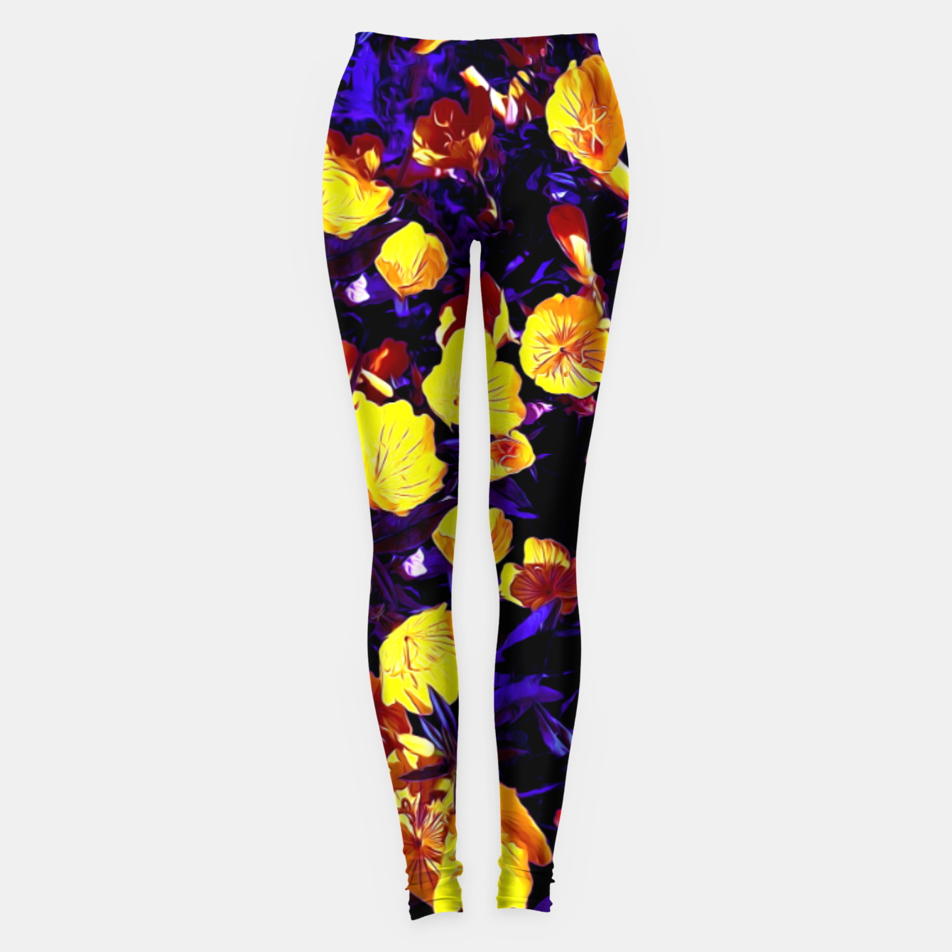 Image of Moonlight flowers, botanical print of spring floral garden lit by the moon Leggings - Live Heroes