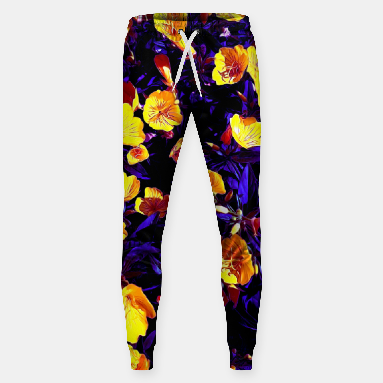 Image of Moonlight flowers, botanical print of spring floral garden lit by the moon Sweatpants - Live Heroes