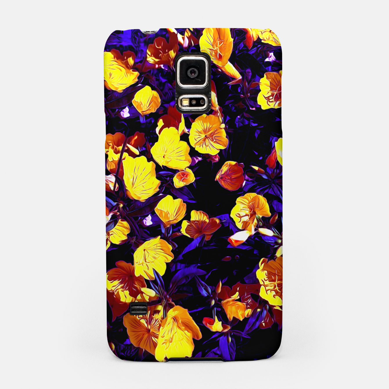 Image of Moonlight flowers, botanical print of spring floral garden lit by the moon Samsung Case - Live Heroes