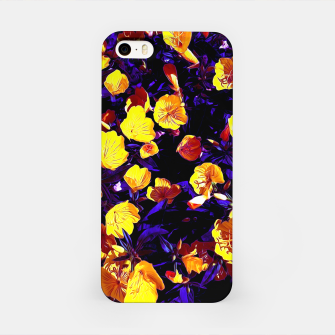 Moonlight flowers, botanical print of spring floral garden lit by the moon iPhone Case thumbnail image