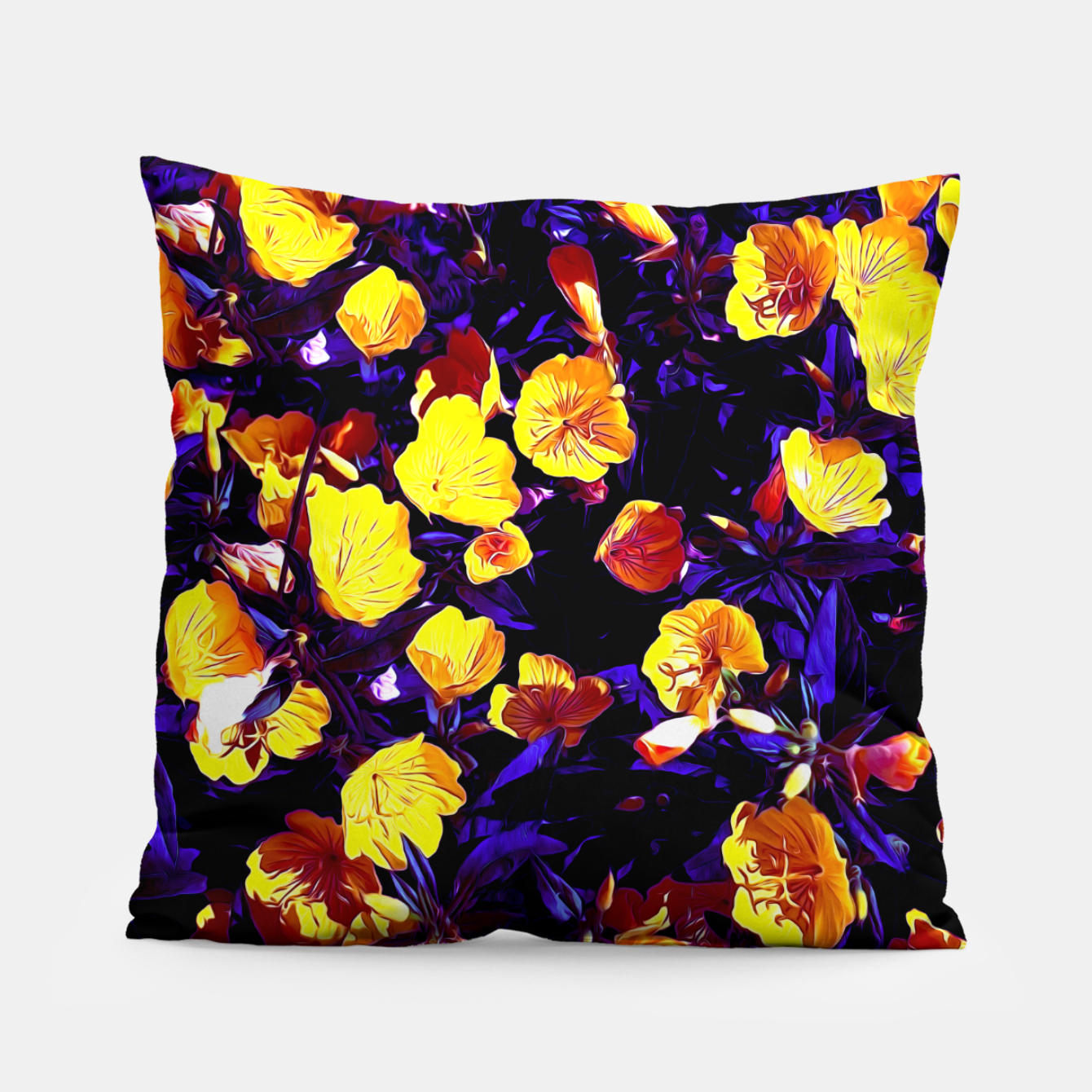 Image of Moonlight flowers, botanical print of spring floral garden lit by the moon Pillow - Live Heroes