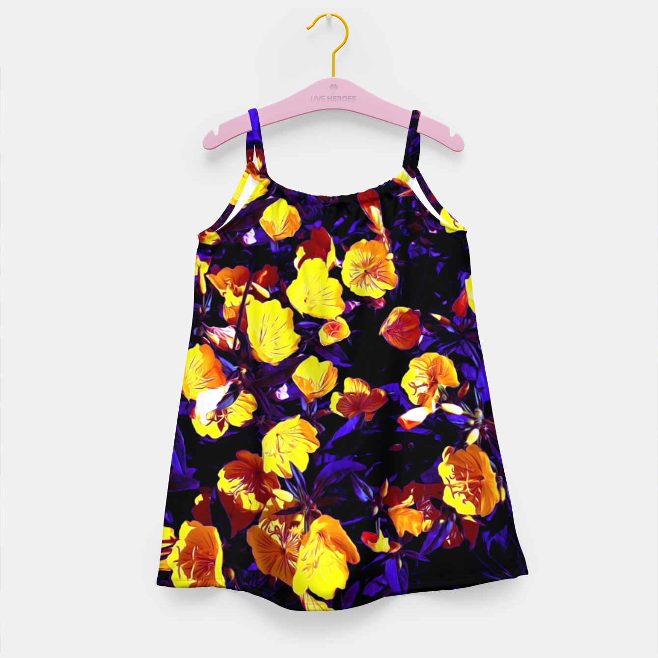 Image of Moonlight flowers, botanical print of spring floral garden lit by the moon Girl's dress - Live Heroes