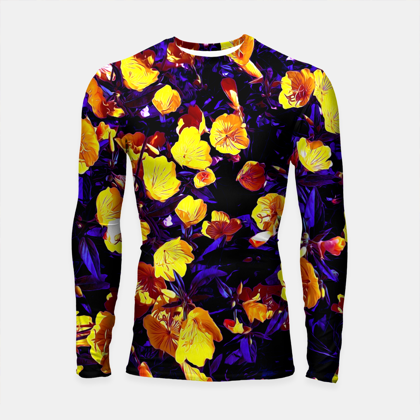 Image of Moonlight flowers, botanical print of spring floral garden lit by the moon Longsleeve rashguard  - Live Heroes