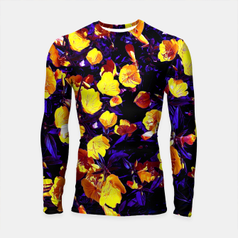 Moonlight flowers, botanical print of spring floral garden lit by the moon Longsleeve rashguard  thumbnail image