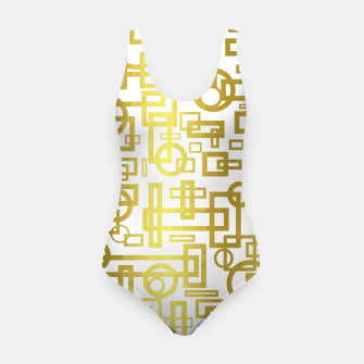 Thumbnail image of Gold Overlap Geometric Swimsuit, Live Heroes