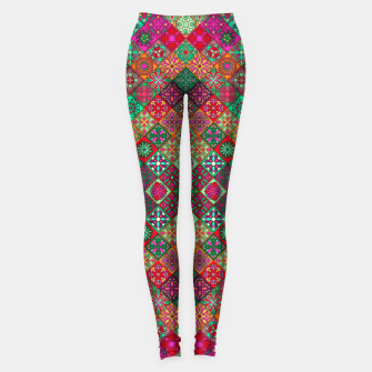Thumbnail image of Traditional Floral Boho Moroccan Pattern Style Leggings, Live Heroes