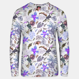 Toucan in the lilac jungle I Sudadera unisex Bild der Miniatur