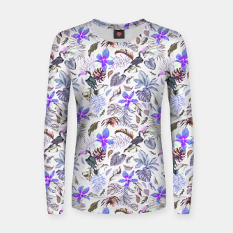 Toucan in the lilac jungle I Sudadera para mujeres Bild der Miniatur