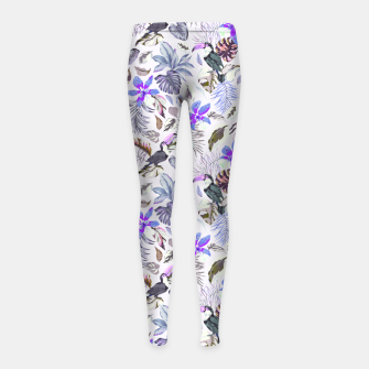 Thumbnail image of Toucan in the lilac jungle I Leggings para niña, Live Heroes