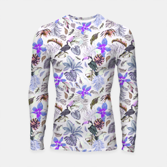 Miniatur Toucan in the lilac jungle I Longsleeve rashguard, Live Heroes