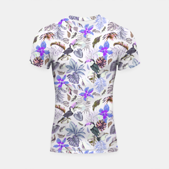 Miniatur Toucan in the lilac jungle I Shortsleeve rashguard, Live Heroes