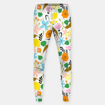 Thumbnail image of Lemon Botanicals, Chic Tropical Floral Summer Garden Colorful Illustration Lemons Tamarind Nature Sweatpants, Live Heroes