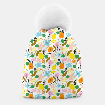 Thumbnail image of Lemon Botanicals, Chic Tropical Floral Summer Garden Colorful Illustration Lemons Tamarind Nature Beanie, Live Heroes