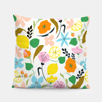Thumbnail image of Lemon Botanicals, Chic Tropical Floral Summer Garden Colorful Illustration Lemons Tamarind Nature Pillow, Live Heroes
