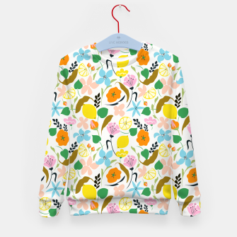 Thumbnail image of Lemon Botanicals, Chic Tropical Floral Summer Garden Colorful Illustration Lemons Tamarind Nature Kid's sweater, Live Heroes