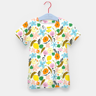 Thumbnail image of Lemon Botanicals, Chic Tropical Floral Summer Garden Colorful Illustration Lemons Tamarind Nature Kid's t-shirt, Live Heroes