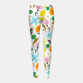 Thumbnail image of Lemon Botanicals, Chic Tropical Floral Summer Garden Colorful Illustration Lemons Tamarind Nature Girl's leggings, Live Heroes