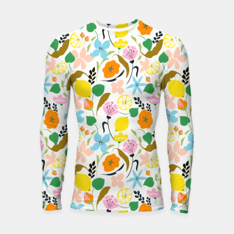 Thumbnail image of Lemon Botanicals, Chic Tropical Floral Summer Garden Colorful Illustration Lemons Tamarind Nature Longsleeve rashguard , Live Heroes